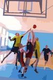 Basketball team. Drawing of a Basketball team playing Royalty Free Stock Images