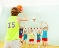Basketball team defending hoop from another player Stock Image