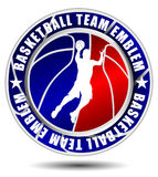 Basketball team emblem. Illustration red and blue vector illustration