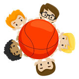 Basketball Team holding the Ball Royalty Free Stock Image