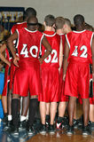 Basketball team huddle stock photos