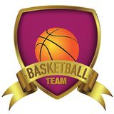 Basketball team logo design in deep purple background on gold frame stock photo