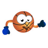 Basketball team mascot. Vector illustration of humor cartoon character as basket ball gloves, fun design for child junior teams and related Royalty Free Stock Photo