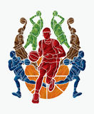 Basketball Team player dunking dripping ball action Royalty Free Stock Photography