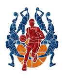 Basketball Team player dunking dripping ball action Royalty Free Stock Images