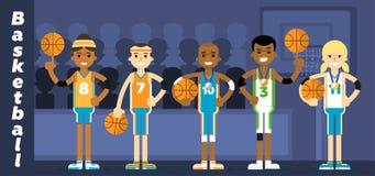Basketball Team on the podium awarding Stock Photo