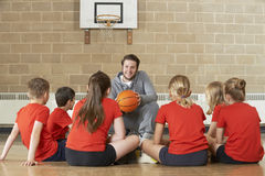 Basketball-Team Trainer-Giving Team Talk To Elementary School Lizenzfreies Stockbild
