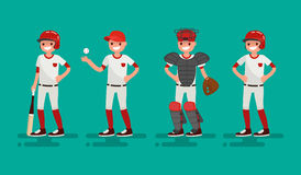 Basketball team. Vector illustration of a flat design. Basketball team. Batter, Pitcher, Catcher, Runner . Vector illustration of a flat design Royalty Free Stock Images
