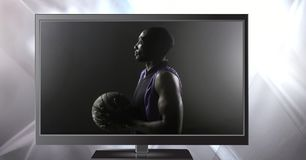 basketball on television royalty free stock images