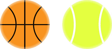 Basketball and Tennis Ball Vector Drawing royalty free stock images