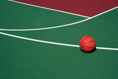 Basketball at three point line Royalty Free Stock Photo