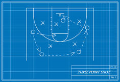 Basketball three point shot on blueprint royalty free illustration