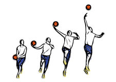 Basketball throw methodics illustration Royalty Free Stock Image