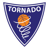 Basketball tornado on violet background Stock Photography