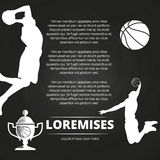 Basketball tournament background with athlete silhouettes, Stock Images