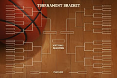 Basketball tournament bracket with spot lighting on wood gym flo. Basketball tournament bracket over image of ball with spot lighting on wood gym floor Stock Images