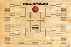 Basketball tournament bracket on wood gym floor Stock Photography