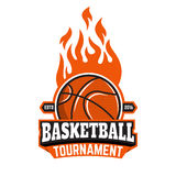 Basketball tournament emblem template. Royalty Free Stock Images