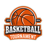 Basketball tournament. Emblem template with basketball ball. Des. Ign element for logo, label, sign. Vector illustration Royalty Free Stock Image