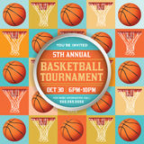 Basketball Tournament Illustration. A basketball tournament flyer or poster perfect for basketball announcements, games, tournaments, camps, and more. Vector EPS Stock Photography