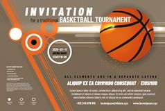 Basketball tournament invitation template. With ball and sample text in separate layer - vector illustration stock illustration
