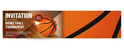 Basketball tournament invitation template. With sample text in separate layer- vector illustration stock illustration
