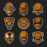 Basketball tournament vintage isolated label set. Basketball major league, championship symbol, sport colleague society icon, athletic camp logo. Basketball Stock Images