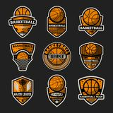 Basketball tournament vintage isolated label set royalty free stock images