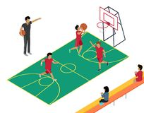 Basketball Training with Three Players and Coach. Basketball vector training with three players, one throwing ball in basket and two running around coach vector illustration