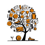 Basketball tree concept, sketch for your design Stock Photo