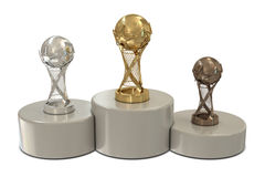 Basketball trophies and round podium. Isolated on white background Royalty Free Stock Photo