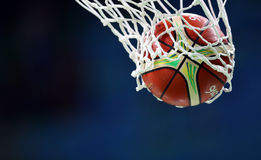 Basketball trough net. Basketball ball goes through the basket, net Royalty Free Stock Photos