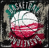 Basketball typographical vintage grunge style poster. Retro vector illustration. Royalty Free Stock Images