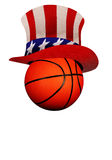 Basketball with Uncle Sam Hat Stock Images
