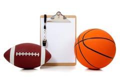Basketball und amerikanischer Fußball oard lizenzfreie stockfotos