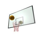 Basketball und Rückenbrett Stockfotos