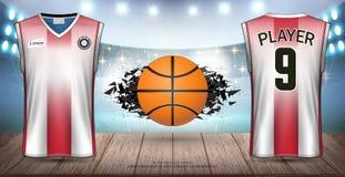 Basketball-Uniformen u. Trikots, Trägershirts und ärmellose Hemden tragen Modell-Schablone zur Schau stock abbildung