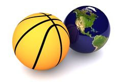 Basketball USA. A Colourful 3d Rendered Basketball USA Concept Illustration Stock Photography