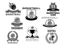 Basketball vector icons set for club championship. Basketball club or tournament icons and championship award badges set. Vector symbols of basketball ball in royalty free illustration