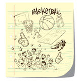 Basketball. Vector illustration of basketball competition theme in doodle style Royalty Free Stock Photos