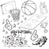 Basketball. Vector illustration of basketball competition theme in doodle style Royalty Free Stock Image
