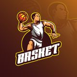 Basketball vector logo design mascot with modern illustration concept style for badge, emblem and tshirt printing. basketball play. Illustration with a jumping stock illustration