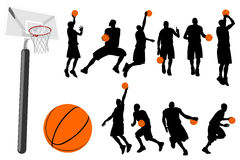 Basketball vector set. Basketball players' silhouette with detailed backboard and ball Stock Photography