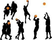Basketball Vector Silhouettes. Six two-color basketball vector silhouettes stock illustration