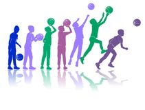 Basketball vector silhouettes dynamic colored stock illustration