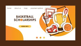 Basketball vector sport basket-ball landing page of website with net hoop on basketball-court illustration sportive web. Banner design backdrop illustration vector illustration