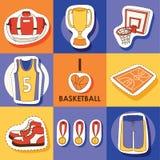 Basketball vector sport sticker sportswear medal cup net hoop on basketball court illustration set of sportive clothes. For gym banner set backdrop illustration stock illustration