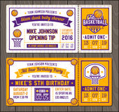 Basketball Vector Ticket Templates stock illustration