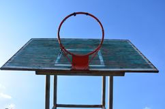 The basketball is very old. With a steel loop waiting for repair. stock photography