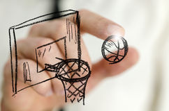 Basketball on virtual screen Stock Photography